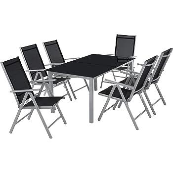 TecTake Aluminium 6+1 Salon de Jardin Ensemble sièges Meubles Chaise ...