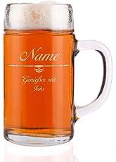 Privatglas gravierter Bierkrug 1 Liter Maßkrug mit Gravur des Namens u. Jahr