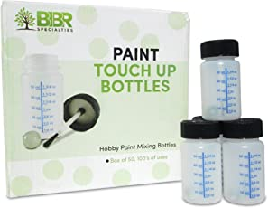 Paint Touch up Bottles with Brush and Mixing Ball - Box of 50-2 oz/60 ml Capacity - Ideal for Car, Automotive, Model and Hobby Painting - Solvent and Break Resistant HDPE Plastic