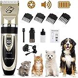 Wilktop Cortapelos Perros, Máquina de Cizallamiento Electrónico Cortapelos Máquina de Afeitar Recortadora de Baterías con 4 P