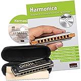 CASCHA Set d'apprentissage avec un harmonica de haute qualité en do majeur diatonique, méthode en français pour débutants, un
