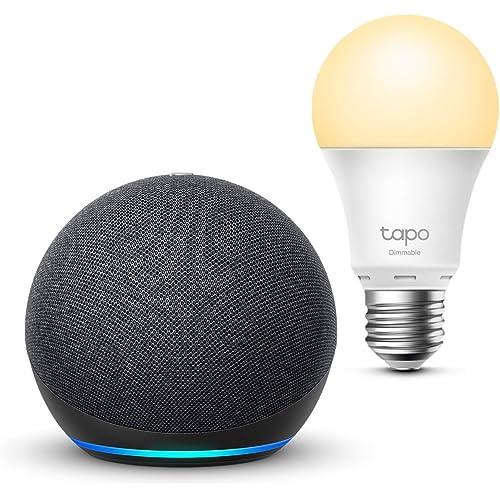Echo Dot (4ª generazione), Antracite + TP-Link Tapo White Lampadina Connessa (E27), compatibile con Alexa