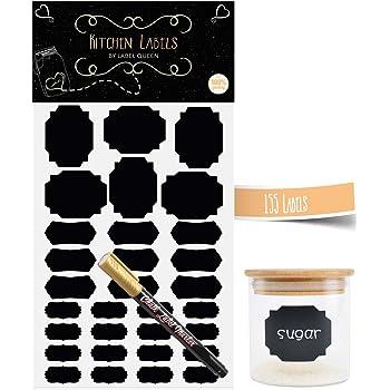 ifergoo noir kitchen labels 120 pièces dautocollants réutilisables