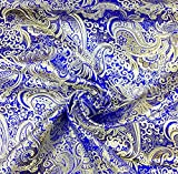 Royal Blau & Gold Paisley Metallic Brokat Stoff 152,4 cm W