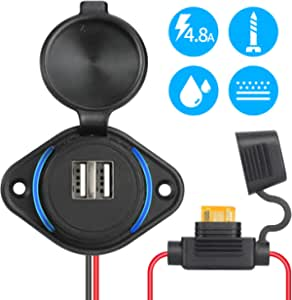 Rupse Usb Car Socket 5 V 4 8 A Dual Car Charger Waterproof Power Adapter 12 V 24 V With Fuse 5 A Led Blue Light For Boat Motorcycle Truck Atv Rv Scooter Auto