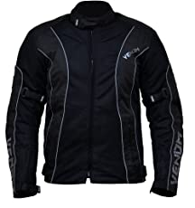 Venom Asphalt All Weather Motorcycle Riding Jacket (Black, S)