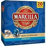 Marcilla Descafeinado Café Cápsulas, Intensidad 6, 20 Cápsulas