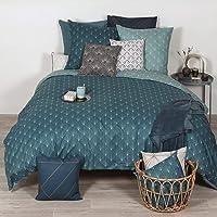 Parure de lit Gatsby géométrique Bleu 240x220 cm Azsy - Sets de Housse de Couette imprimé avec 2 Taies d'oreiller