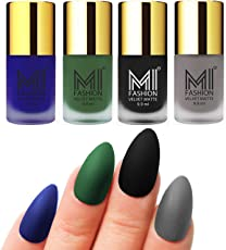 Mi Fashion Velvet Dull Matte Nail Polish, Black, Blue, Green, Grey, 39.6ml (4 Pieces)