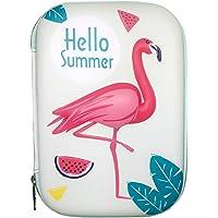 Jiada Premium Cartoon Print Large Capacity Hardtop EVA Pencil Case with Multiple Compartment (Flamingo)