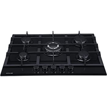 149d9f56d1bb23 Millar GH7051TB Plaques de cuisson en Verre trempé avec 5 brûleurs à gaz  Noir 70 cm