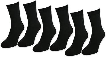 sockenkauf24 6 | 12 | 24 Paar THERMO Socken Damen & Herren Vollfrottee Schwarz Baumwolle mit Komfortbund