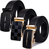 Barry.Wang Mens Leather Belt Black Ratchet Belt with 3 Automatic Buckles Adjustable Strap Business Gift Box