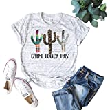 Womens Cactus Texas T-Shirts Funny Graphic Can't Touch This Summer Tee Tops