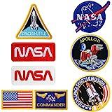 8Pcs Ferro su Patch Noi Bandiera NASA Logo 100th Space Shuttle Mission Militare Ricamato Patch per Abbigliamento Fai da te Ve