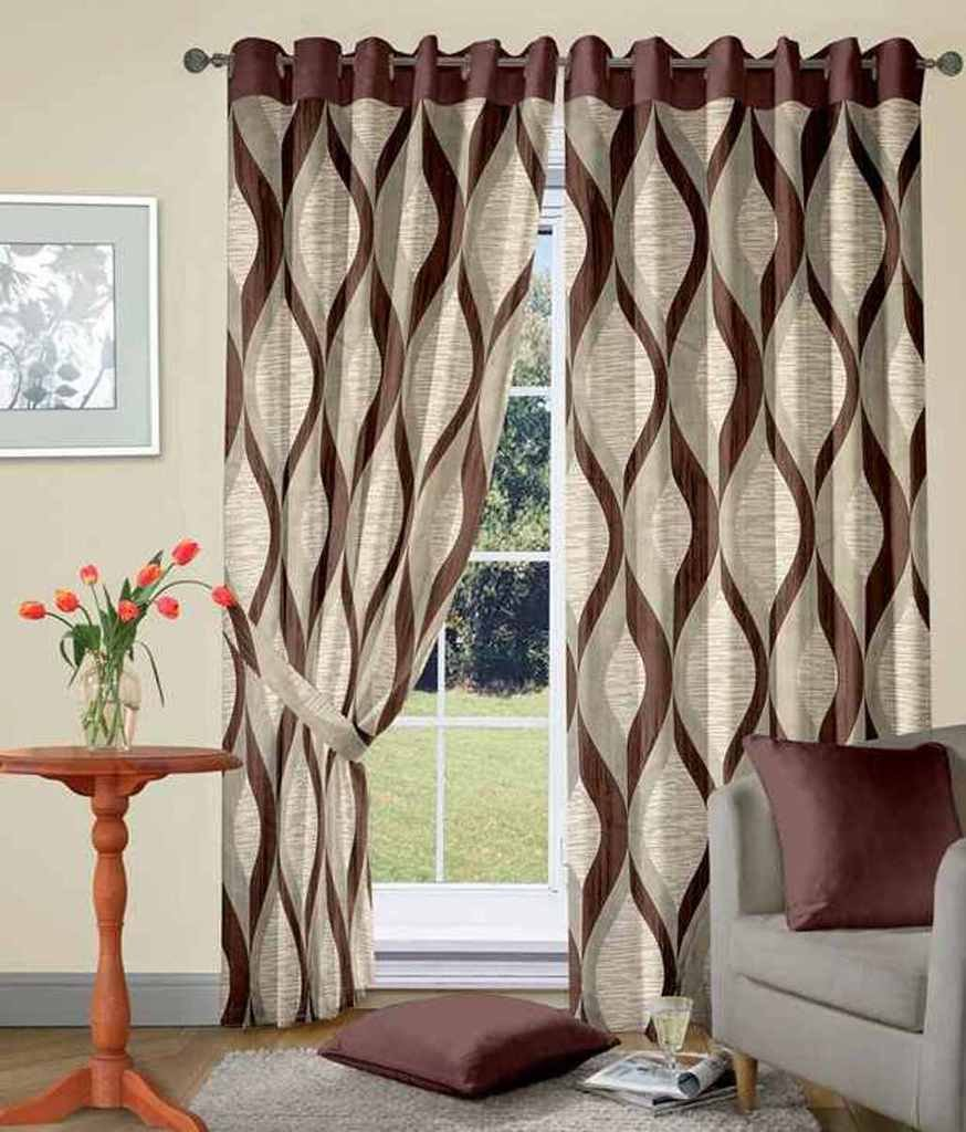 Buy Super India Jacquard 2 Piece Cotton Blend Door Curtain Set   9ft, Brown  Online At Low Prices In India   Amazon.in