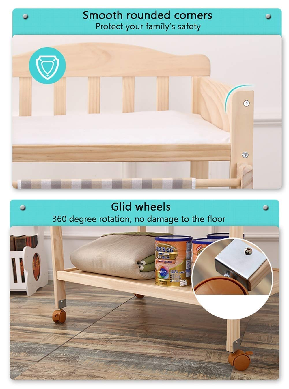 Changing Table Baby Changing Table Portable Wooden Newborn Massage Care Station Foldable Integrated Diaper Station Dresser (Color : Wood) Changing Table ●Size and Safe and Stable- 82×58×97cm/ 32×23×38 inch,Suitable for babies weighing less than 25kg,With seat belt,Changing pad has a restraining strap for added safety and is made of easy to clean, soft ●2-in-1 design- Baby changing table can be used as baby massaging table as well. It is designed at the proper height of parent to prevent mom's back aches and pains from kneeling or bending when changing diapers to babies. ●Premium materials - Using high-quality materials for our 2 in 1 infant changing table,Reinforced wood,it is durable and stable for long time daily use,And easy to clean and maintain. 7