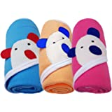 Brandonn Cute Baby Blankets for Babies (Blue/Beige/Hot Pink, Pack of 3, 3 Pieces)