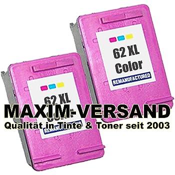 2cartucce di inchiostro XL Maxi mprint (Refill–wiederaufgefuellt) set per HP 62XL color/colore C2P07AE compatibile per stampanti HP Envy 5540554255445545554755485600Series 56405642564356445646566056615663566456657600764076447645e-All-in-One HP Officejet 200C 201202C 2502525700Series 5740574157425743574457458000Series 80408045