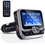 Transmisor FM Bluetooth, Clydek Transmisor FM Universal Adaptador de Radio Kit de Automóvil con Control Remoto, Cargador Dual