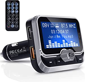 Bluetooth Fm Transmitter Clydek Universal Fm Transmitter Radio Adapter Audio Receiver Car Kit With Remote Control Dual Usb Charger And Hands Free Function 1 8 Inch Large Screen Navigation Car Hifi