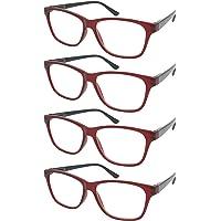 TBOC Occhiali da Vista Lettura Presbiopia - Pack 4 Unità Graduati +1.00 Diottrie Montature Bordeaux Fashion Leggeri…