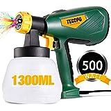 Pistolet à Peinture Électrique, TECCPO 500W Débit Réglable à 800 ml/min, avec récipient amovible de 1300ml, 3 buses 3…