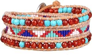 KELITCH Naturale Cristallo Conchiglia Perla Perline Mescolare Intrecciata 3 Avvolgere Braccialetto Fatto A Mano Moda Donne Gioielli