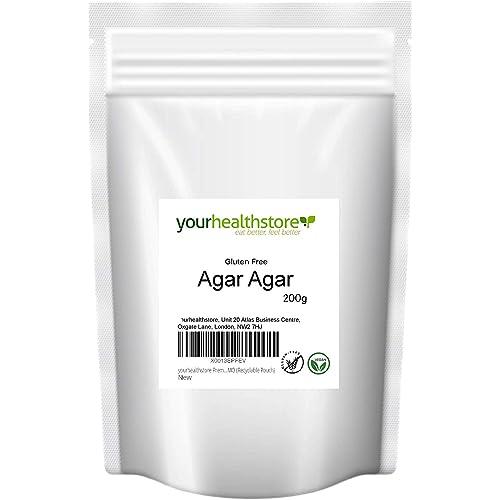 yourhealthstore - Agar agar in polvere di agar senza glutine, 200 g, gelatina vegana, europea, non OGM, sacchetto riciclabile