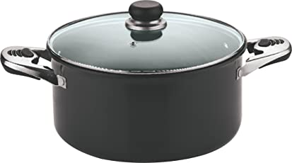 Vinod Cookware Black Pearl Hard Anodised Sauce Pot with Tempered Glass Lid, 2-Pieces, 28cm, Black