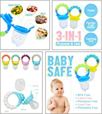 Wish key Baby Fruit and Vegetable Food Silicone BPA Free Nibbler/Teether/Pacifiers/Feeder with Rattle, 6 to 12 Months (Multicolour)
