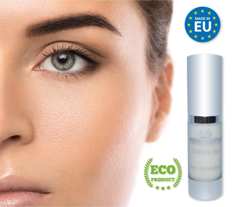 Contorno de ojos acción total, reduce las bolsas, ojeras, efecto antiarrugas y anti edad. Contiene Cafeína, Cocktail Hialurónico, colágeno soluble, extracto de olivo, L-Arginine y Alantoina.
