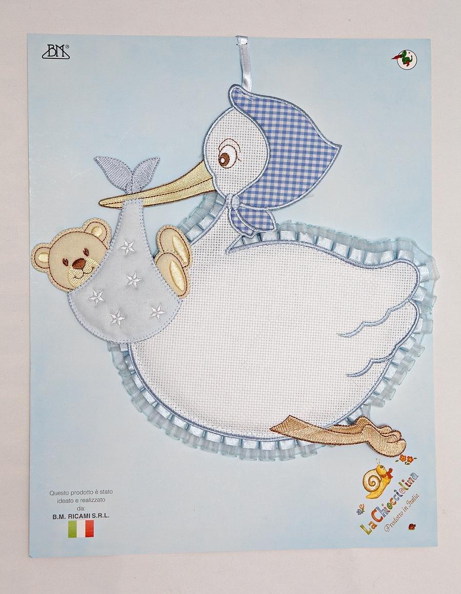 fiocco nascita cicogna da ricamare con orsetto azzurro