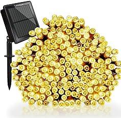 Tobbiheim Solar Lichterkette Außen 200 LED 22 Meter Wasserdicht IP65 mit USB Aufladung Stimmungslichter 8 Modi Außen und Innen Dekoration für Weihnachten, Garten, Terrasse, Feiern - Warmweiß