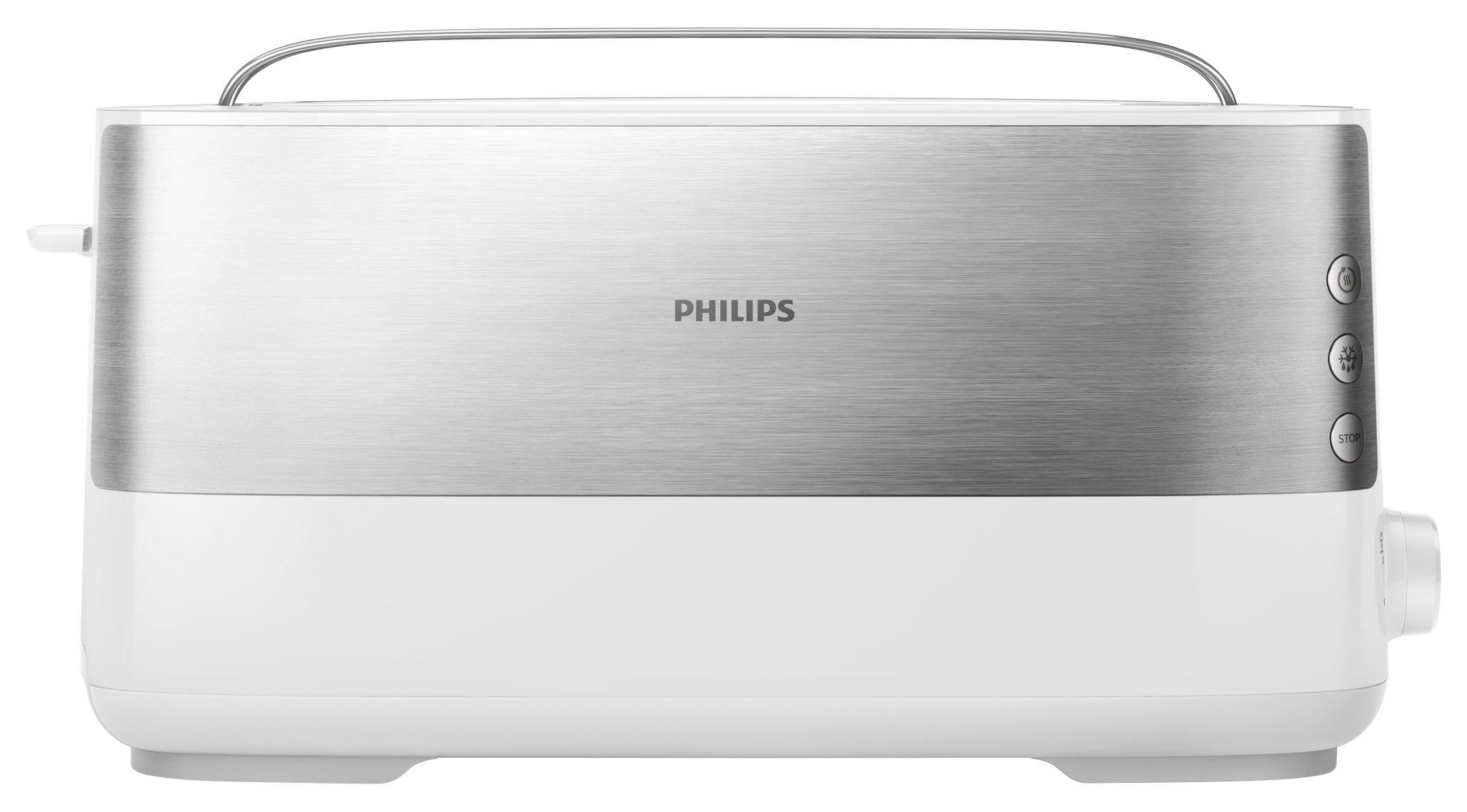 Philips-Langschlitztoaster-Edelstahl-8-Brunungsstufen-Brtchenaufsatz-950-Watt-wei-HD269200