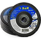 S&R lamellen slijpschijven 125x22,2 T29, (korrel 100). Set van 5 stuks voor het schuren van staal en hout. Set voor haakse sl
