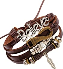 Young & Forever Friendship Day Gifts for Best Friend raksha bandhan Gifts for Sister & Brother MenTastic Multilayer Beads Believe Leaf Charm Unisex Gift Leather Bracelet for Boys Mens (B55572)