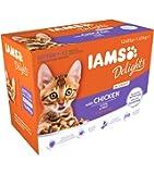 IAMS Delights Kitten Nassfutter - Multipack Katzenfutter mit Huhn in Sauce, hochwertiges Futter für Junior Kätzchen von 1-12 Monate, versch. Größen