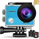 Crosstour Caméra Sport 4K UHD Wi-FI 16 MP avec Télécommande Appareil Photo Étanche Caméscope 30M 170 °Grand-Angle 2 Pouces LCD Deux Batteries Rechargeables et 18 Accessoires CT9000(Bleu)