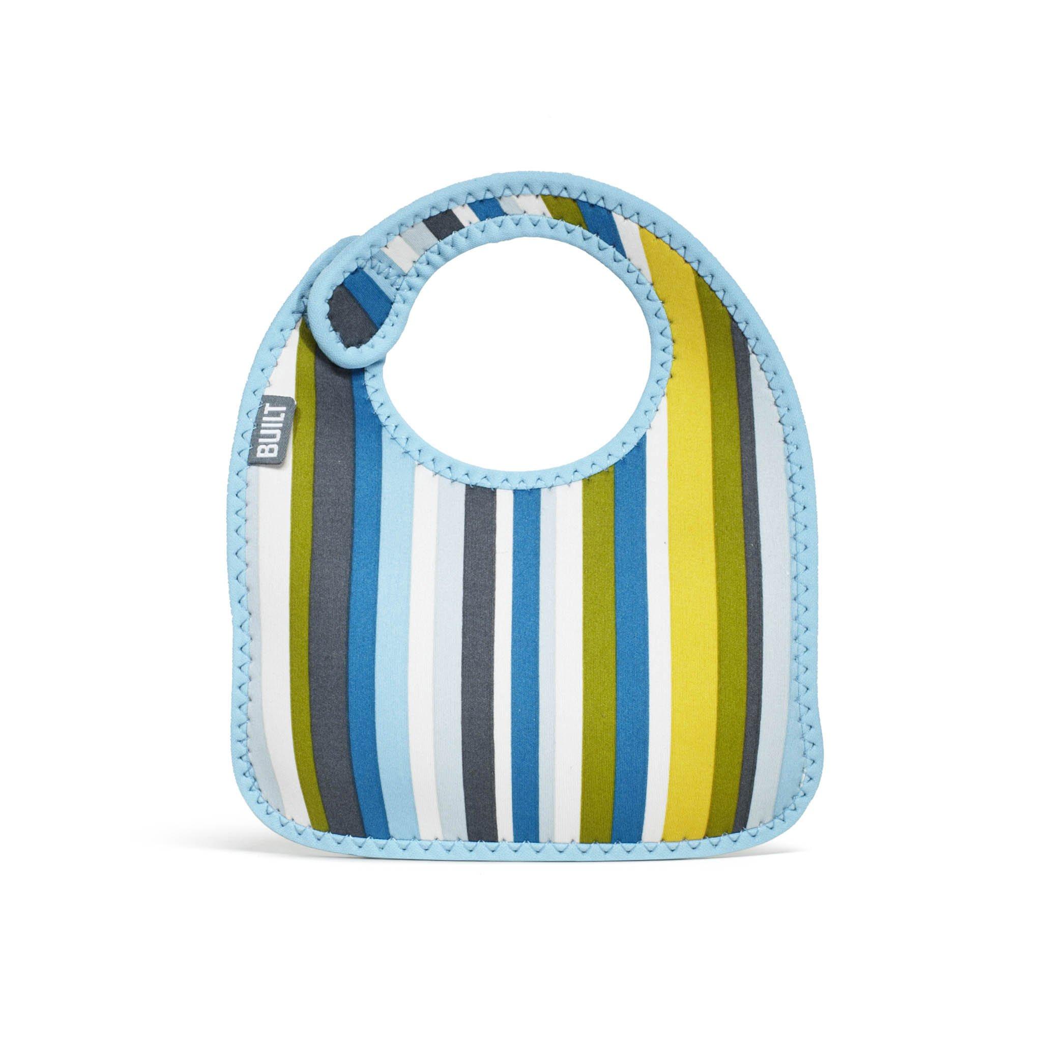 Built NY - Bavaglino per neonato a righe, set da 2 pz, colore: Azzurro