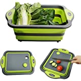 【Upgrade】D L D Collapsible Cutting Board with Colander Containers, Foldable Food Grade Silicone Dish Tub Chopping Board…