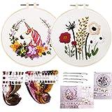 WENTS Borduurkit met patroon en instructies met de hand borduurkit, bloemeneenhoorn, vierkant, borduurpatroon, kruissteekset,