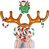 Unbekannt Zwei-Spieler Aufblasbare Rentiergeweih Ringwurfspiel F/ür Weihnachtsfeier 3 Geweihe 12 Ringe