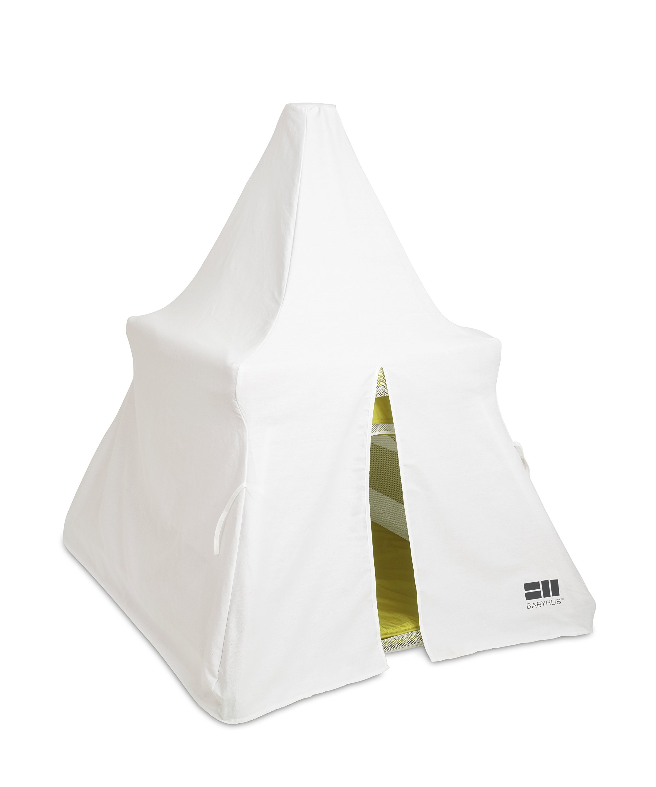 BabyHub SleepSpace Travel Cot with Mosquito Net, Green BabyHub Three cots in one; use as a travel cot, mosquito proof space and reuse as a play tepee Includes cotton canvas tepee cover Can be set up and moved even while holding a baby. Dimensions Open - L 116cm x W 960cm x H 122cm (when opened). Dimensions Closed - 83cm H x 22cm x 42cm (in bag) 3