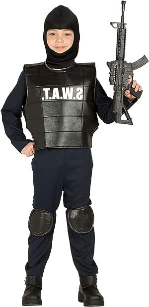 COSTUME AGENTE SWAT TAGLIE VARIE Carnevale Soldato Servizi Speciali Militare