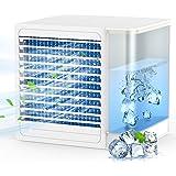 Luftkylare, avdunstande kylare, bärbar luftkylare 2 hastigheter justerbar med LED-ljus vattentank tyst avdunstande luftkylare
