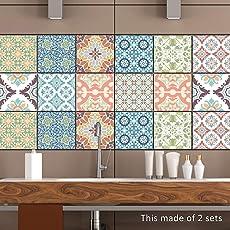 EXTSUD 10 stück Stickerfliesen 20x20 cm Fliesenaufkleber Fliesenfolie Mosaikfliesen Fliesen-Sticker Folie Aufkleber Selbstklebende Fliesenbilder für Badezimmer Küche Deko