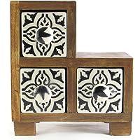 Hiba Enterprises Wooden Chest with Ceramic Box Drawer Decorative Drawers