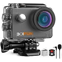BOIFUN 4K 20MP Action Cam EIS Bildstabilisierte Wi-Fi mit Externem Mikrofon Unterwasserkamera Sport Helmkamera…
