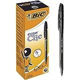 BIC Cristal Clic Stylos-bille Rétractables Pointe Moyenne (1,0 mm) - Noir, Boîte de 20